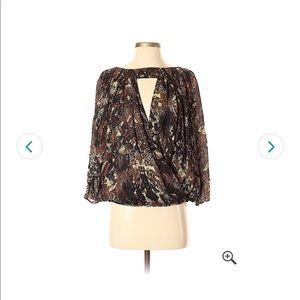 Parker keyhole snake print blouse
